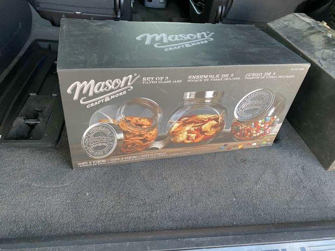Mason Set Of 3 Tilted Glass 96 Oz Jars NEW for sale in Springville , UT