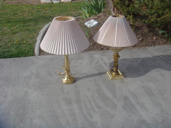 Two well made brass lamps with shades 801-441-8632 for sale in Sandy , UT