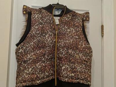 """Price Reduced"" Leopard Print Vest w Hood"