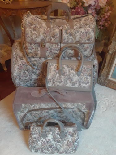 French Luggage Vintage Grey Suede Tapestry for sale in Bountiful , UT