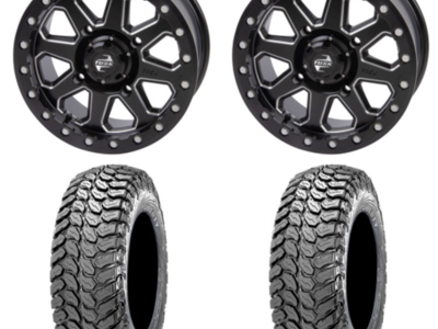 (4) 30x10-14 Maxxis Liberty Tires on Tusk Uinta Beadlock Wheels (Milled)