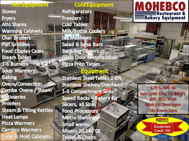 Used restaurant equipment up to 50% off selected items for sale in Salt Lake City , UT