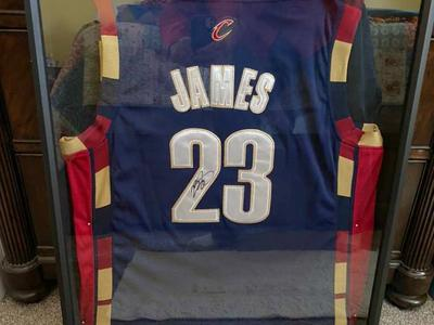 Lebron James Autographed Rookie NBA Jersey Framed