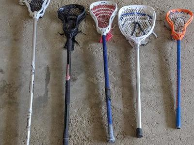 Multiple lacrosse sticks
