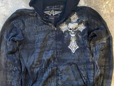 Affliction L/S Hoodie Full ZIP Size M $40