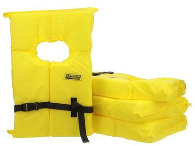 NEW Set of 4 Pack Bag Seachoice Life Vest, Type II Personal Flotation Device Yellow Adult