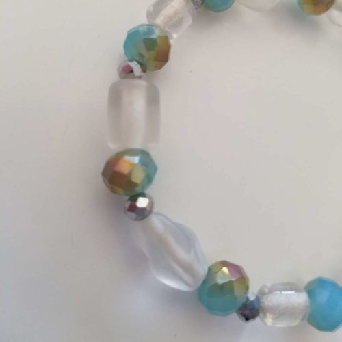 Blue Brown Gray Glass Beaded 6