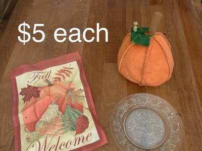 Thanksgiving Fall Decor Flag Plate And Pumpkin