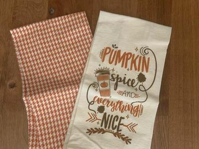 Fall Autumn Dish Tea Towels Pumpkin Spice