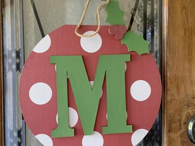 Monogram M Christmas Door Hanger Ornament