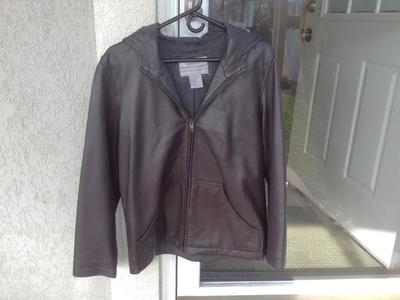 SOFT BROWN LEATHER JACKET, SIZE MEDIUM