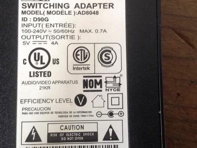 ACBel SWITCHING ADAPTER AD8048 POWER SUPPLY