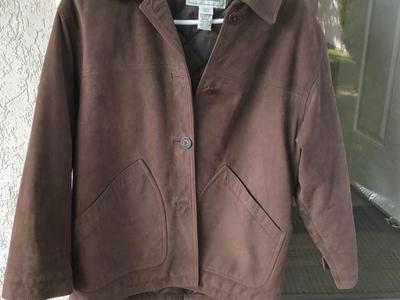 Llbean   Brown Leather Barn Jacket Petite Small