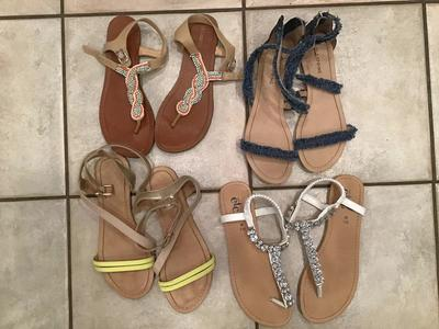4 Pairs of Sandals sizes 7-8