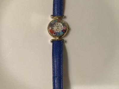 Glass Millefiori Leather Band Blue Watch