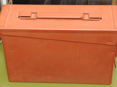 M19A 30 caliber surplus ammo can, used, painted in earth tone