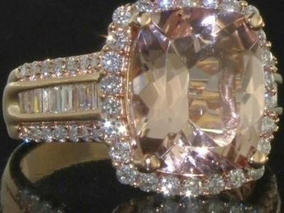$15k 14K ROSE GOLD 5.30CT MORGANITE/DIAMOND RING