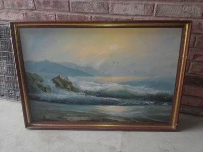 Original hand painted ocean scene