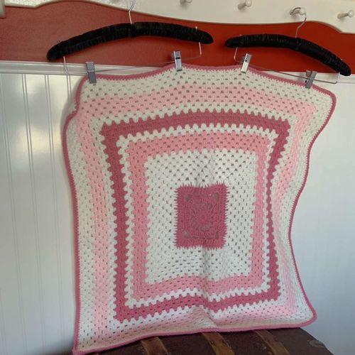 Hand Crocheted Pink and White Crochet Baby Blanket for sale in Herriman , UT