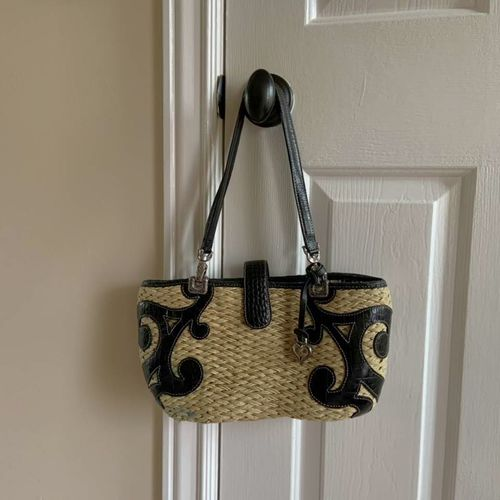 Brighton Wicker Straw Bag Purse with Black Scrolls for sale in Herriman , UT