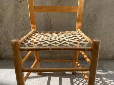 Antique Rawhide Pine Chair