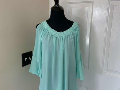 Charming Charlie Turquoise Lace Flutter Sleeve Top