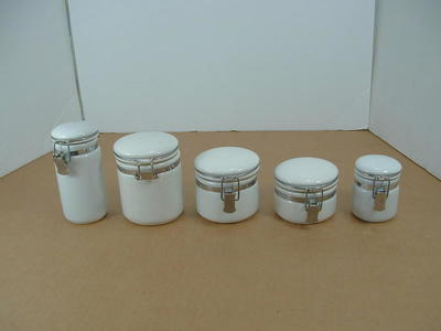 Oggi ceramic airtight canister set white