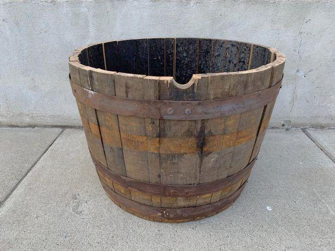 Authentic Rustic Vintage Oak Whiskey Barrel Planter Halves - Perfect for gardens, patios, yards - Excellent landscaping option for sale in Salt Lake City , UT