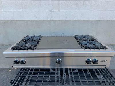 Wolf Range Top - Four Gas Burners - French Cook Top - Stainless Steel - Excellent Used Condition