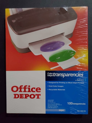 Office Depot Brand Inkjet Transparency Film, Clear, Pack Of 100 - New Unopened for sale in West Bountiful , UT