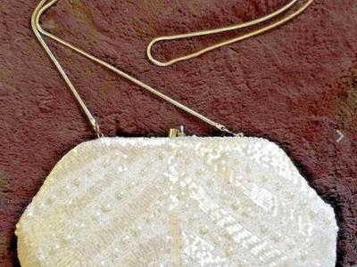 Vintage Neiman Marcus Beaded White Evening Purse