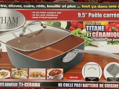 "NEW Non-stick TI-cerama Coated 9,5"" DeepSquare Pan"