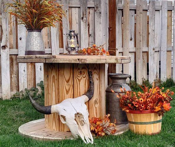 Farmhouse, rustic wedding display spool tables for rent in Lehi , UT