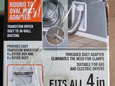 Round to oval dryer vent/duct adapter