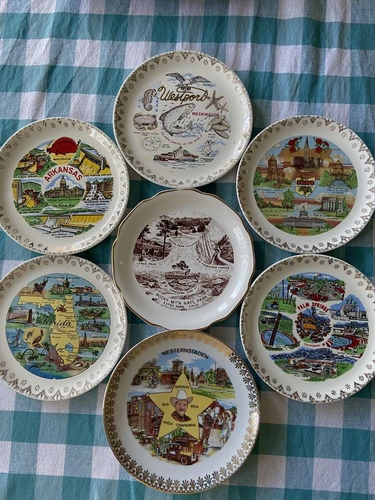 7 Vintage State Travel Souvenir Collector Plates for sale in Riverton , UT