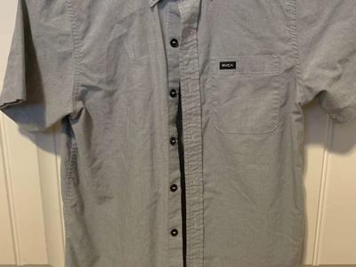 RVCA Buttonup Shirt Youth Size M Grey