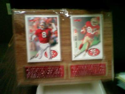 STEVE YOUNG & JERRY RICE CARD PLAQUE