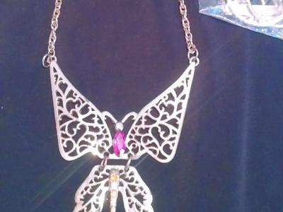 "14.5"" gold Butterfly necklace with hoop earrings"