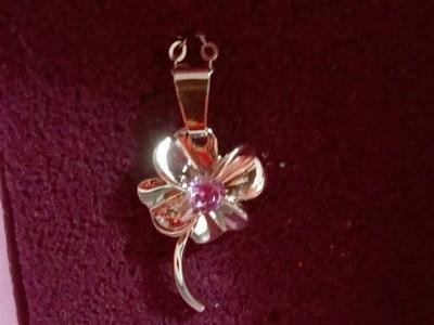 Palm Beach four leaf clover flower Necklace purple