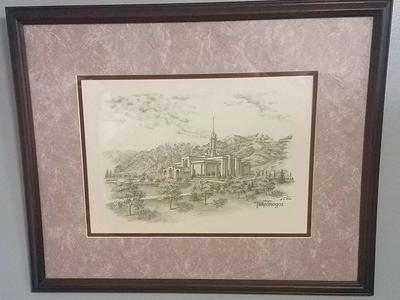 Framed Pencil Scetch of Timpanogos Temple