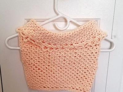 Girl's Crocheted Pink Cowl Neck Top
