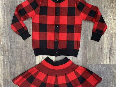 NWT 2 PatPat Girls Buffalo Plaid Set! Sz 7/8