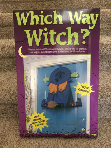 Wrong Way Witch with Broom Halloween Door Hanging Decoration for sale in Orem , UT