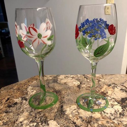 Beautiful Hand Painted Stemware Glasses for sale in Ogden , UT