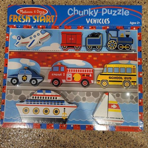 Melissa and Doug chunky wood puzzle vehicles New for sale in Salt Lake City , UT