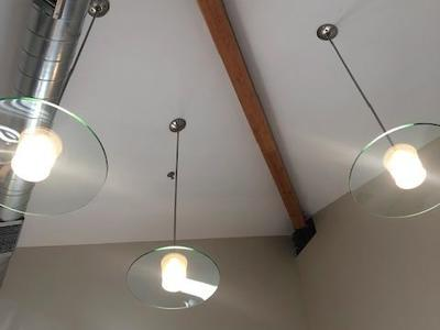 Brushed Nickel and Glass Pendant Lights