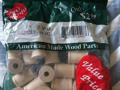 New Wood Spools Bag 24 Pieces