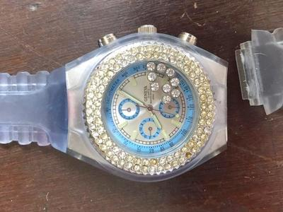Geneva Ice Blue Watch W/ Floating Rhinestones