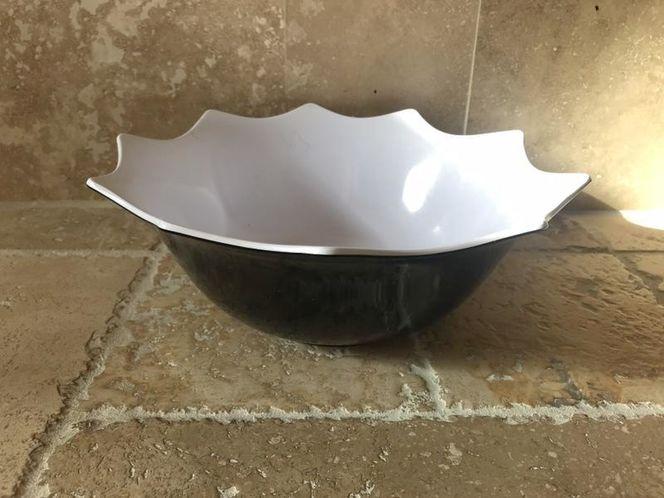 Black Plastic Bowl W/ White Inside Scalloped Edge for sale in Salt Lake City , UT