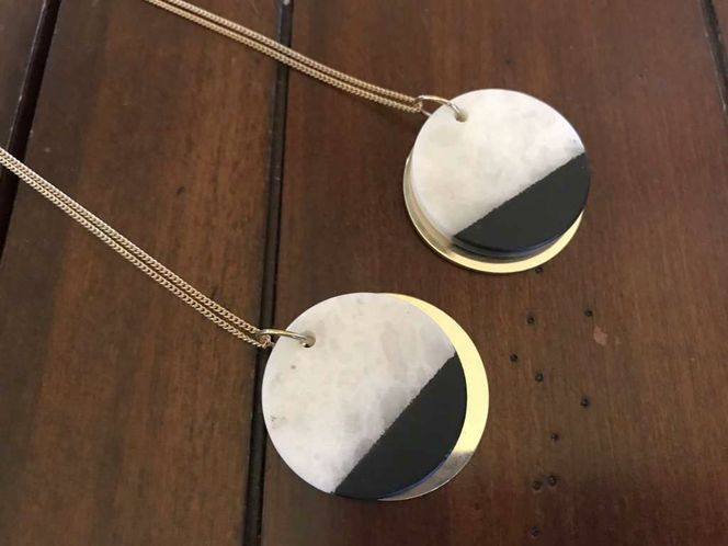 Long Gold Necklace W/ Black & White Stone Disc for sale in Salt Lake City , UT